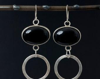 Sterling Silver Hoop and Oval Onyx Earrings