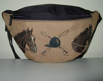 Horse Head and Crop Helmet  Tapestry Large  Fanny Pack