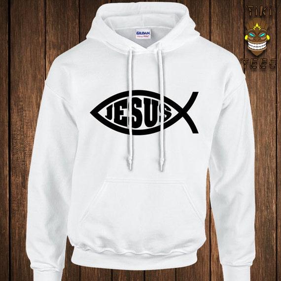 Jesus Hoodie Christian Catholic Hooded Sweater Holy Bible Sweatshirt Love Fish Saviour Funny Religious Religion Joke Cool Geek Nerd slna0