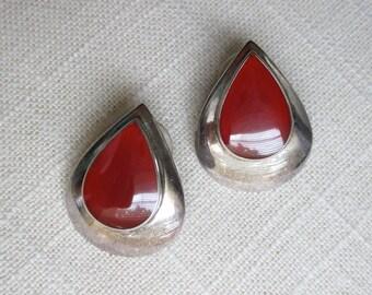 Sterling Silver and Carnelian Drop Shape Earrings