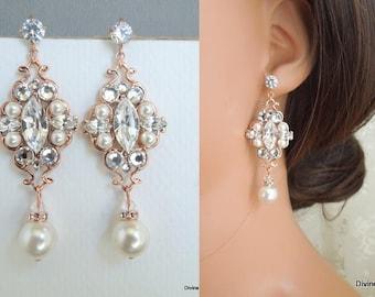 Pearl Earrings Bridal Earrings Rose Gold Earrings Pearl Rhinestone Earrings Bridal swarovski  Earrings Bridal Rhinestone Earrings  GABY