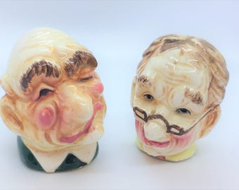 Vintage Japan Caricature Salt and Pepper Shakers, Ceramic Salt and Pepper, Japanese Salt and Pepper, Salt and Pepper Shakers, Tableware