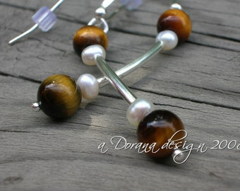 Snow in the Desert Collection - Genuine Freshwater Pearls & Tiger Eye Sterling Silver Earrings - Handmade by Dorana