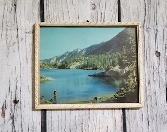 Vintage Retro Mountain Lake Picture Fishing Forest Wilderness