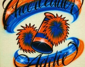 Airbrush T Shirt Cheerleader Name Pom Poms Megaphone, Airbrush Cheerleader Shirt, Airbrush Pom Poms Shirt, Airbrush Cheer Shirt, Cheer Shirt