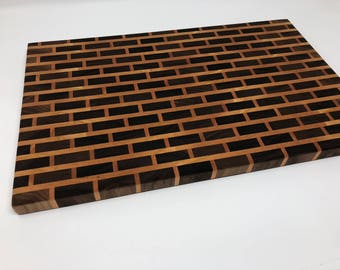 End Grain Cutting Board, Brick Pattern Cutting Board, Handmade Cutting Board, Walnut Cutting Board, Chopping Board