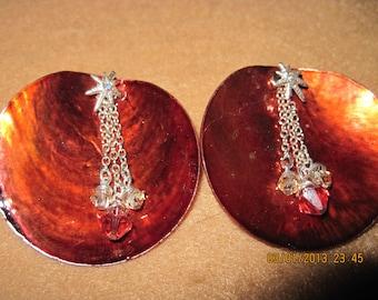 Sterling Silver Swarvoski Crystal Spark Studs w/ Brown Shell... 2 in 1 Earrings...one of a kind..1341h
