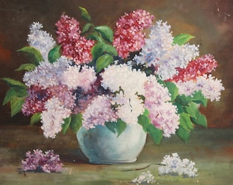 Vintage Still Life Hyacinth Flowers Oil Painting Both Side Painted