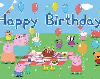Peppa Pig Birthday Banner