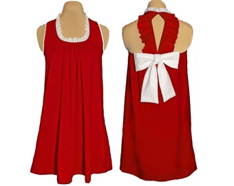 Red + White Back Bow Dress