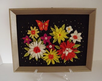 Retro Felt Flower Picture, Hand Made, Dated by Artist, Flower Power, Boho Style, Home Decor, Circa 1973