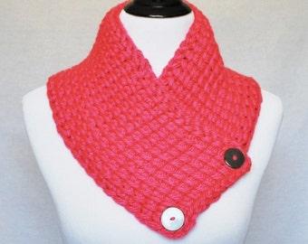 Pink Button Cowl, Tunisian Neck Warmer, Wrap Scarf, Collar - Crochet, Simple, Fuchsia, Magenta, Bright Pink