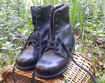 Vintage military boots, Leather boots, Combat boots, Military shoes, Black leather shoes, Vintage boots, Women boots, Black leather boots.