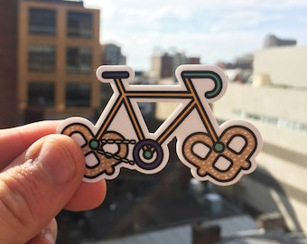 Pretzel Bike Sticker - Philly Pretzels - Bicycle Sticker - Laptop Sticker - Bike Decal - Vinyl Bike Sticker - Philadelphia Sticker