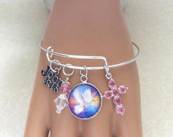 Christian bangle bracelet, John 3:16, Swarovski Crystal Bracelet, Dove glass charm, Swarovski dangle with pink crystal cross in silver plate