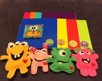 kids doodle pad and mini plush monster gift set or adopt a monster party favor