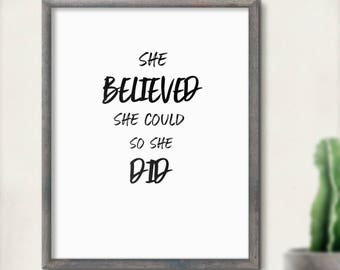 She Believed She Could So She Did Print   Paint Splatter   Motivational   Printable   Quote   Wall Art   Home Decor