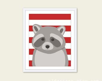 Raccoon Art Print - Nursery Wall Art - Woodland Nursery - Grey and Red Stripes