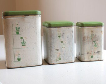 Vintage Empeco Kitchen Canister Set / shabby chic metal kitchen canisters / 1940s flower pot pattern / green white kitchen