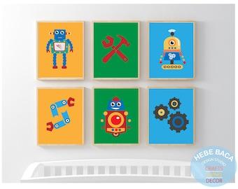 Wall Art- Robot Bedroom Wall decor - Robot Prints - Robot Nursery- Futuristic Wall Art