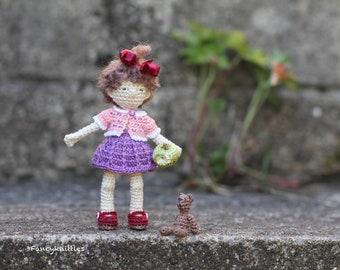 Crochet Girl Miniature Collectible Art Doll with Teddy Bear and Apple, Summer Nostalgic Childhood Gift, Nursery Decor Interior Doll Fiber