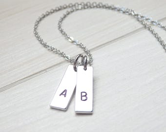 Minimalist Antique Silver Monogram Necklace - Letter Necklace - Initial Necklace