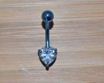 Clear Single Prong Heart Gem Blue Belly Button Ring Navel Body Piercing Jewelry