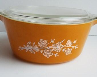 Butterfly Gold Pyrex Casserole Dish