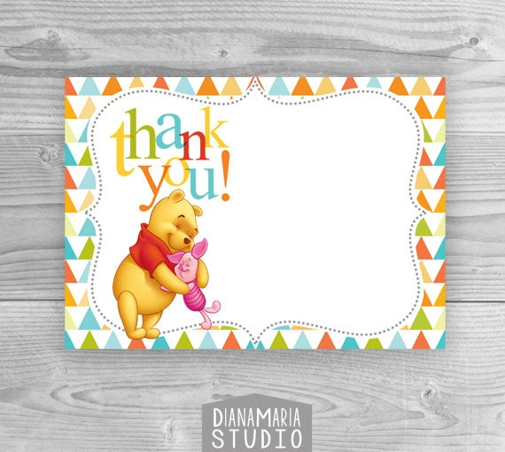 Baby Shower Thank you cards Printable Winnie the Pooh Birthday