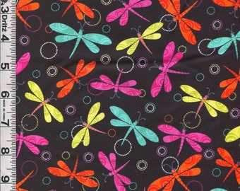 Fabric Benartex Girls Rock collection Bright colored dragonflies dragonfly tossed on black