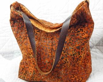 Hobo Womens Bag, Soft Shoulder Bag, Stylish Tote, Animal Print Tote Bag, Quilted Fabric Handbag, Leather Strap Tote, Womens Soft Bag