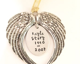 Personalized Memorial Angel Wing Ornament-Christmas Memorial Ornament-Forever in my Heart-forever in our hearts