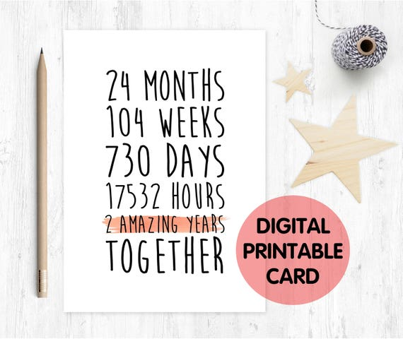 PRINTABLE 2nd anniversary card, 2nd wedding anniversary card, 2 years together, 2 amazing years, lesbian anniversary card,