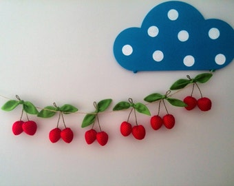 Garland fabric Fruit Summer Fabric banner Fabric bunting Garland Cherry Nursery decor Nursery garland Baby shower Fabric garland Banner