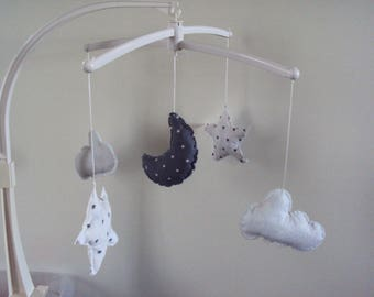 ORDER time 10 days-mobile music complete - hanger for baby: Star - Moon-cloud grey-white bed
