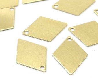 Brass Diamond Blank, 50 Raw Brass Diamond Charms, Pendant, Findings (17x12mm) D304