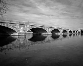 Memorial Bridge,Washington, D.C. archival black and white print signed and matted