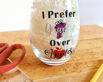 Funny teacher gift etsy teacher wine glassteacher appreciation day weeki prefer grapes over applesend negle Images