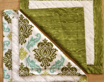 Small Baby Blankets- Green Damask