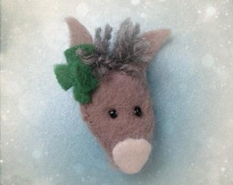 Felt Brooch Cute Grey Donkey Pin Handmade Softie Accessory - Treasury Featured