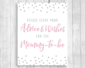 Printable Please Leave Your Advice & Wishes for the Mommy-to-be 5x7, 8x10 Baby Shower Guest Book Sign - Light Pink Silver Glitter Polka Dots