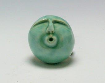 Ohh Ahh Miniature Ceramic Scuplture Rattle Head Easter Island Head, Fred 2, Sea Green/Ceramics and pottery