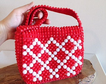 Vintage Red and White Beaded 1960s Mod Purse