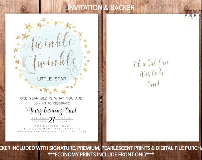 Modern Glitter Twinkle Twinkle First Birthday Invitation Boy One Simple and Gold Stars Blue Watercolor Minimalist Elegant SEATTLE COLLECTION
