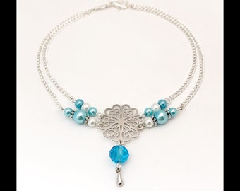 Ankle bracelet arabesques in turquoise blue glass beads