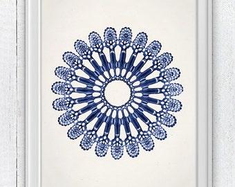 Jellyfish Cistoidea 03 in blue - Wall decor poster ,  sea life print - Marine  sea life illustration A4 print SAS105