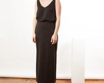 ON SALE Glitter Black Skirt / Midi Metallic Skirt / Party Holiday Skirt