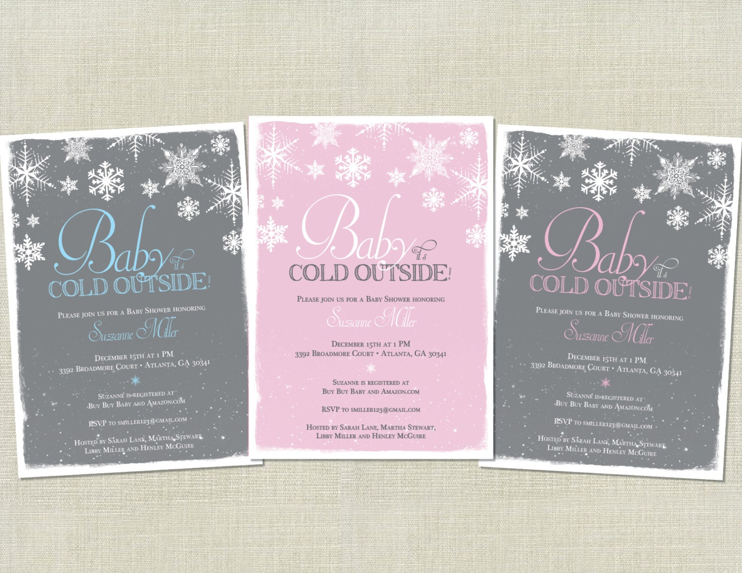 Baby It\'s Cold Outside Baby Shower Invitation / Snowflakes