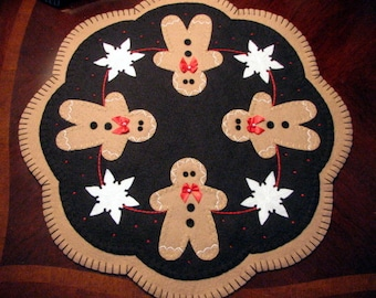 "Hand Stitched SNOWFLAKES and GINGERBREAD Penny Rug / Candle Mat - Wool Applique - Fiber Art - Holiday Decor - Home Decor - 17"" Diameter"