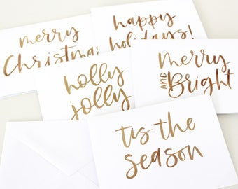 Gold Calligraphy Christmas Card Set of 5 | Hand Lettered Christmas Card | Christmas Greeting Card | Gold Hand Lettering